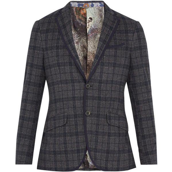 92bcb452f93e34 Etro Checked flannel-wool blazer (1