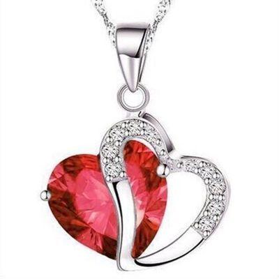 Sydänkaulakoru kahdella sydämellä - Punainen