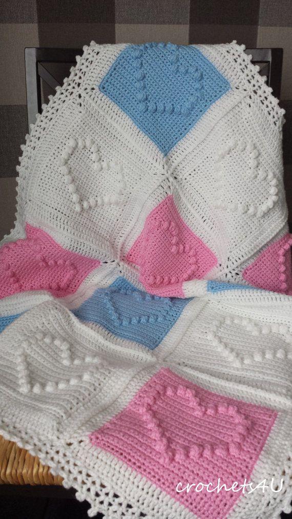 crochet pattern heart afghan crochet blanket pattern by Crochets4U