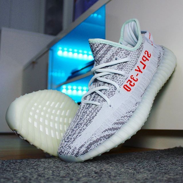 d64b3d75483cd Go check out my Adidas Yeezy Boost 350 V2 Blue Tint on feet channel link in