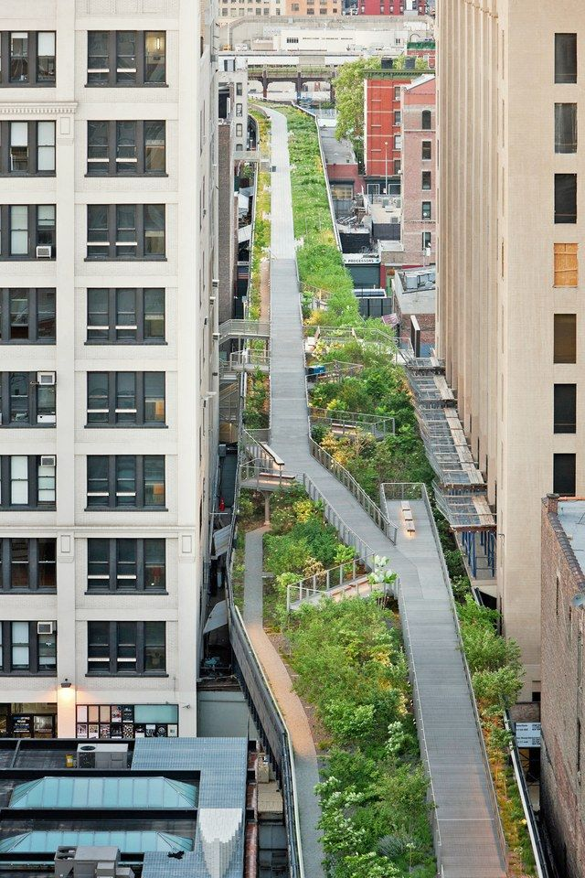 The High Line is a 1.45-mile-long park built on an elevated stretch of the former New York Central Railroad (which operated from 1831–1968). The first of three planned phases of the park opened to the public in 2009.