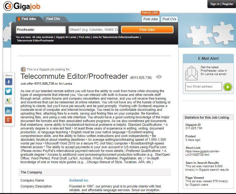 Telecommute Editor/Proofreader Job Opening in Sri Lanka #Telecommute - photo editor job description