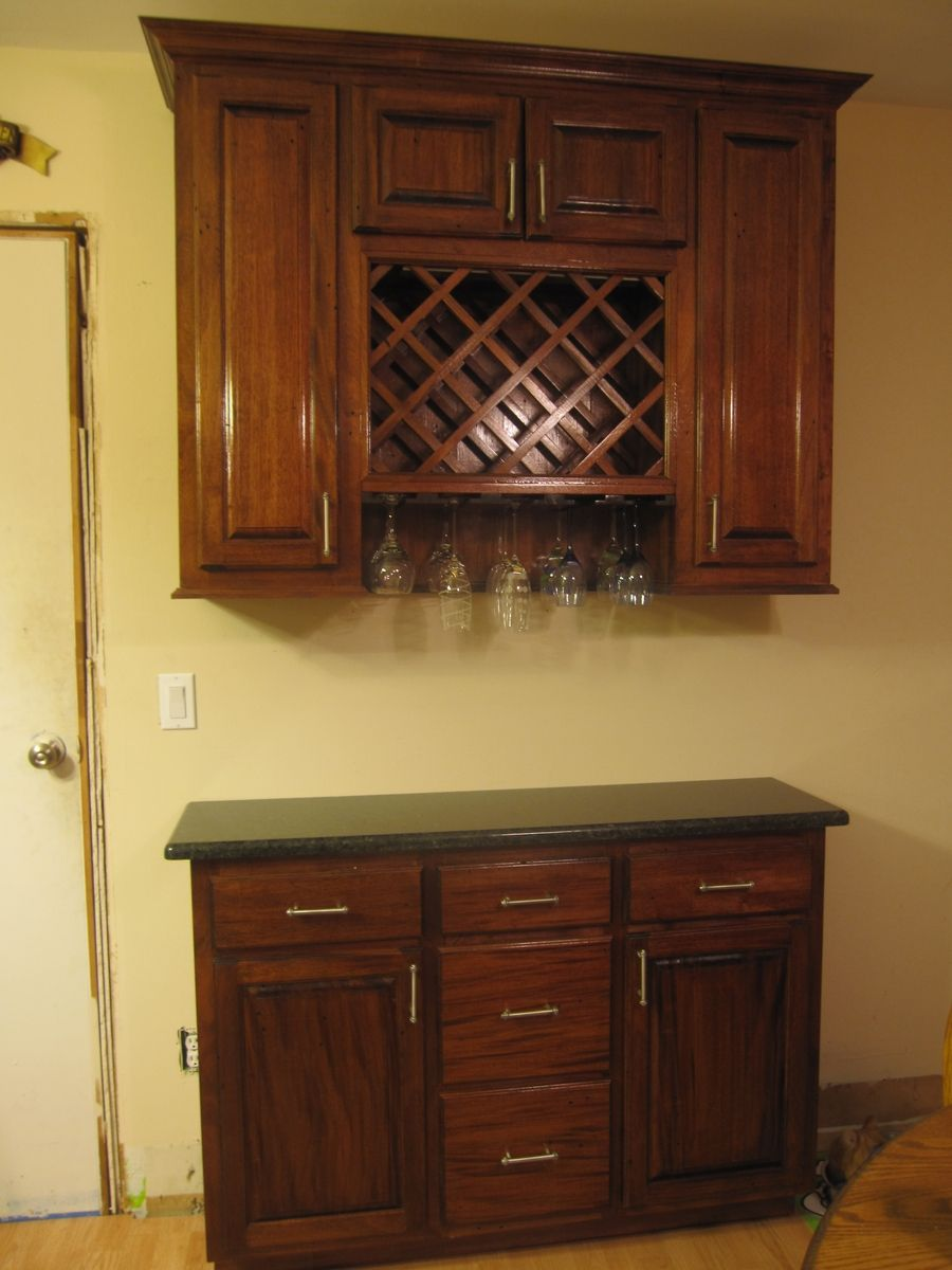 Cherry Wood Kitchen Cabinets Sink Hand Made Wine Rack Cabinet By Cross Cut Construction ...