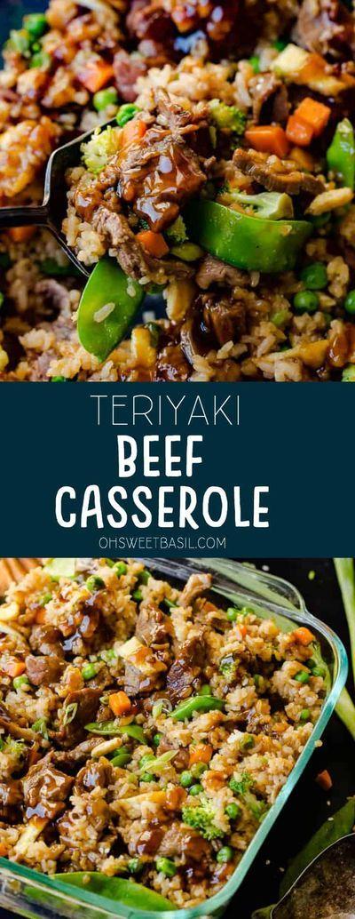 Easy Beef Teriyaki Casserole With Rice Veggies Oh Sweet Basil Recipe Beef Casserole Recipes Easy Casserole Recipes Beef Dinner