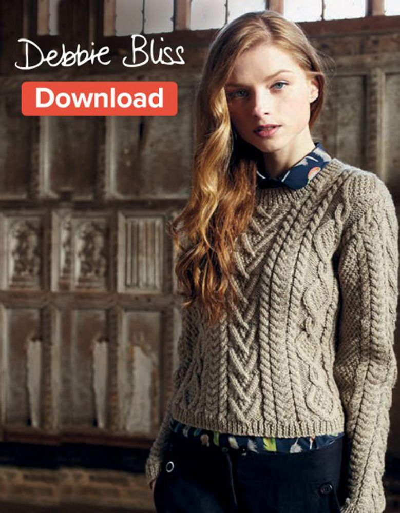 Cable Panelled Sweater in Debbie Bliss Blue Faced Leicester Aran ...