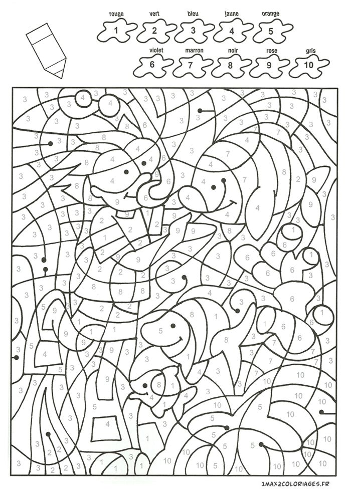 Coloriage un plongeur et des poissons avec 10 couleurs - Coloriage magique nombres ...