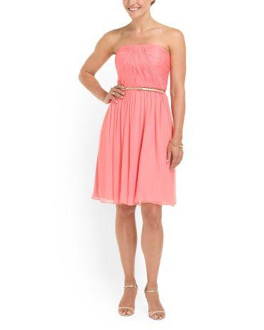Silk Chiffon Strapless Dress