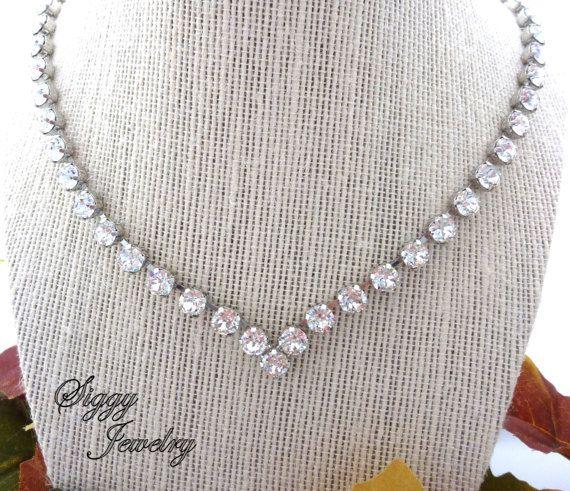 1940cb39b6704d Swarovski Crystal V Shape Bridal Collar Necklace by SiggyJewelry ...