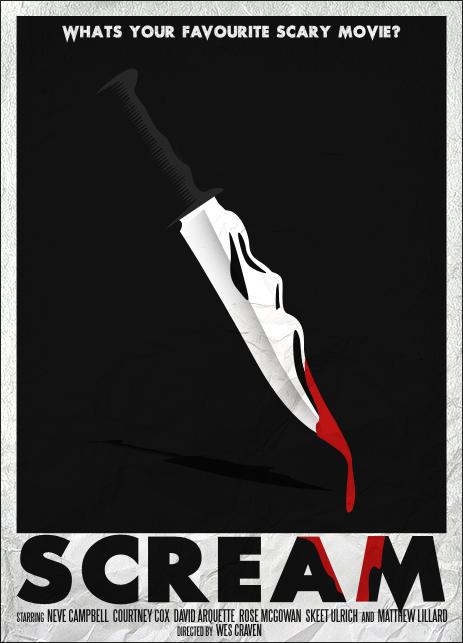 Scream 1996 Minimal Movie Poster By Samraw08 Amusementphile Minimal Movie Posters Scream Movie Movie Posters