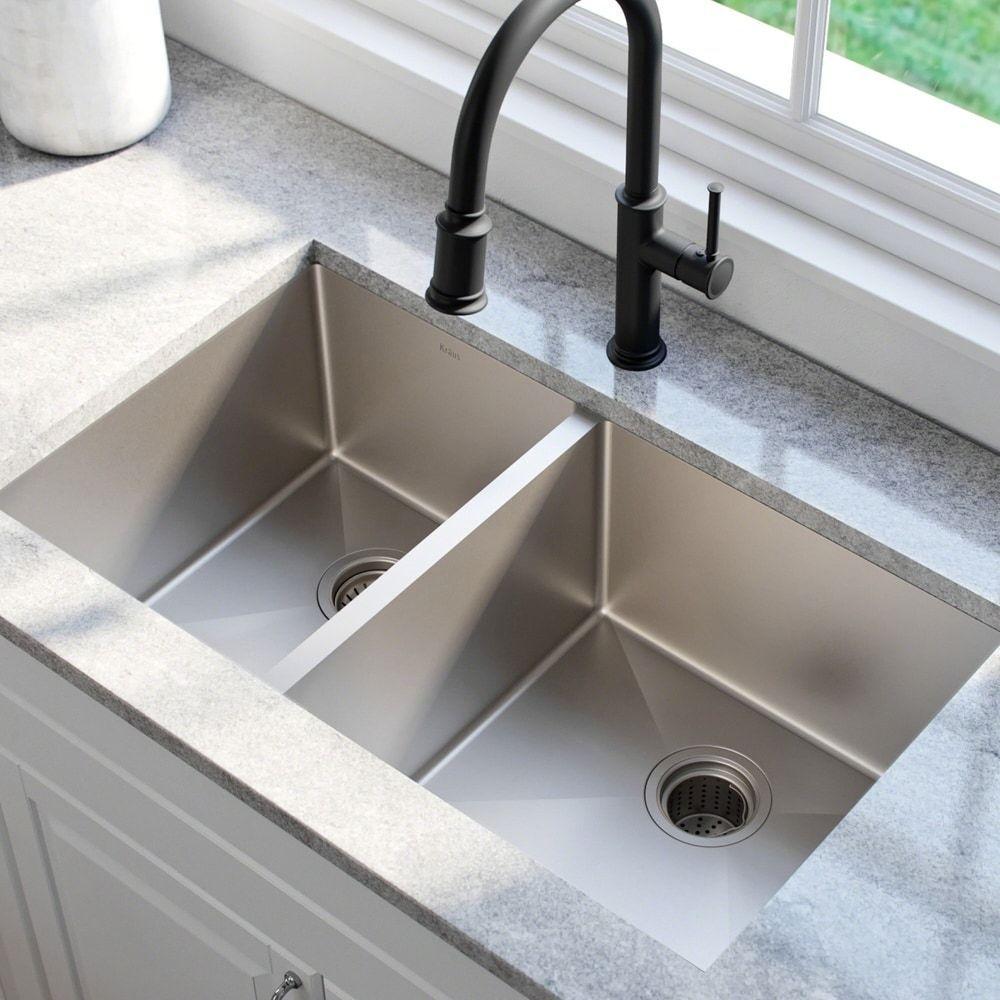 Kraus Undermount 33 Inch 2 Bowl Stainless Steel Kitchen Sink Stainless Steel In 2020 Best Kitchen Sinks Undermount Kitchen Sinks Stainless Steel Kitchen Sink