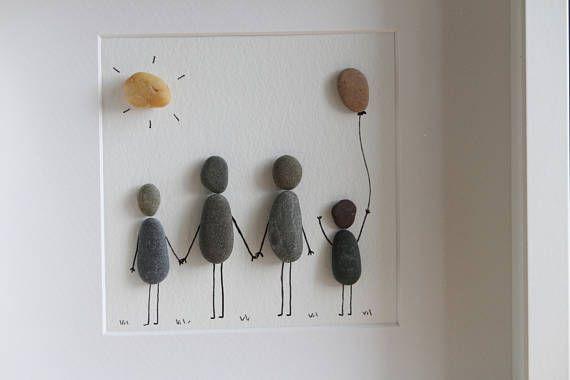Ähnliche Artikel wie Familie Portrait Pebble-Kunst - Familie - Pebble-Kunst - Geschenk für Frau - Geschenk für ihn - Geschenk für Mama - Geschenk für Papa - Feier - Wohnkultur auf Etsy