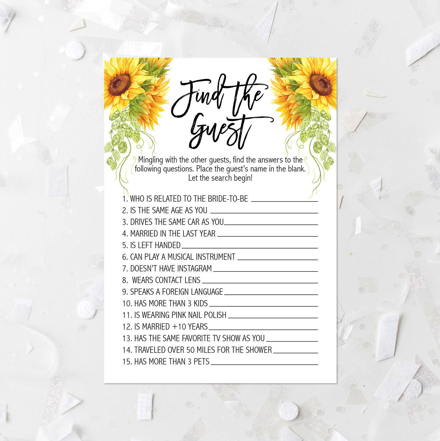 sunflower find the guest shower game printable country floral bridal shower guessing game rustic bridal shower mingling game ice breaker 269 by