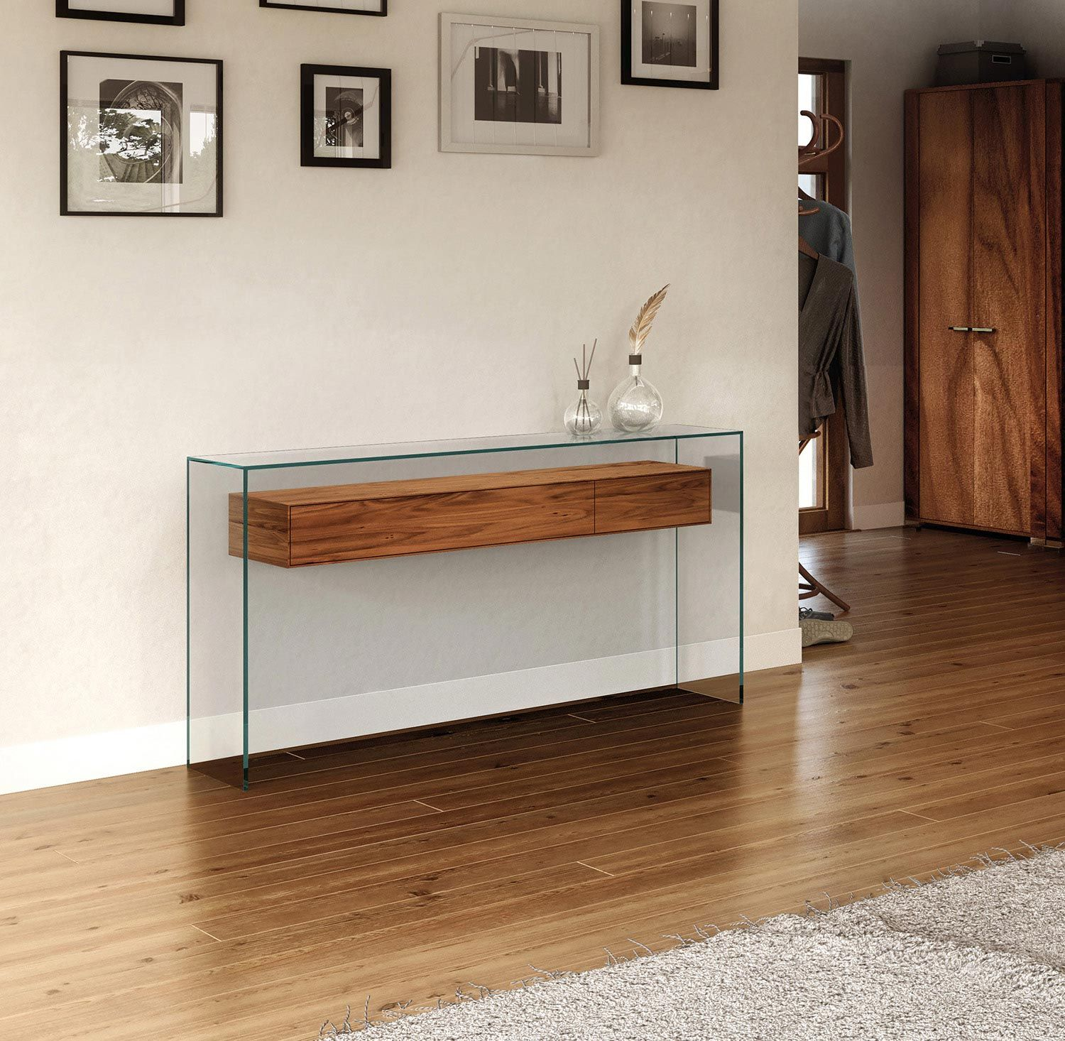 Glass Console Fly Glas Konsole Fly In 2020 Console Table Wood Console Table Floating Drawer