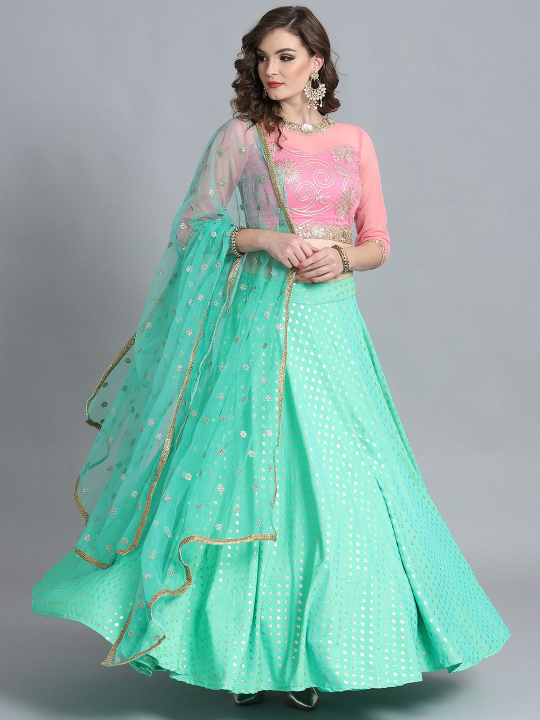 02d71be4c73c78 Bollywood Vogue Green & Pink Gotta Patti Made To Measure Lehenga Choli # Lehenga #Green #Pink #Wedding
