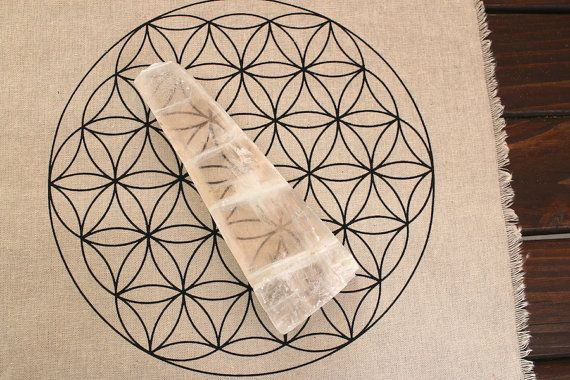 XL Selenite Raw Gypsum blade with flower of life by The7Directions