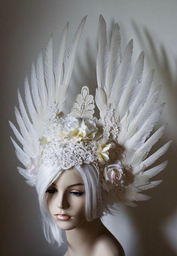 White Angelic Bride Headdress - white wings, roses, and ...