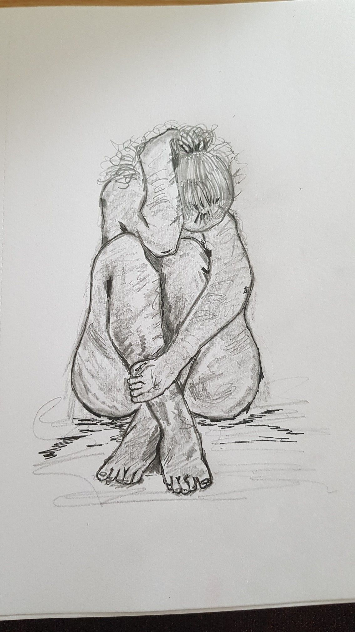 Lonely art scared pain mental health illness sad female pencil