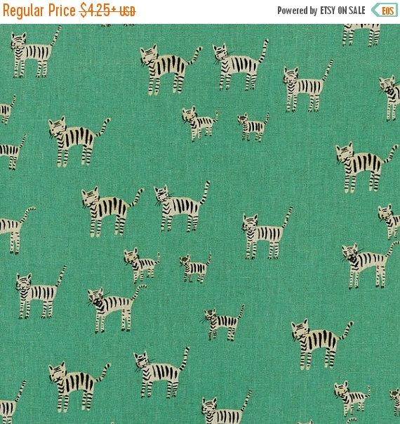 15% OFF Tiger Stripes in Aqua CANVAS,  Cotton and Steel Fabric by Alexia Abegg in Hatbox