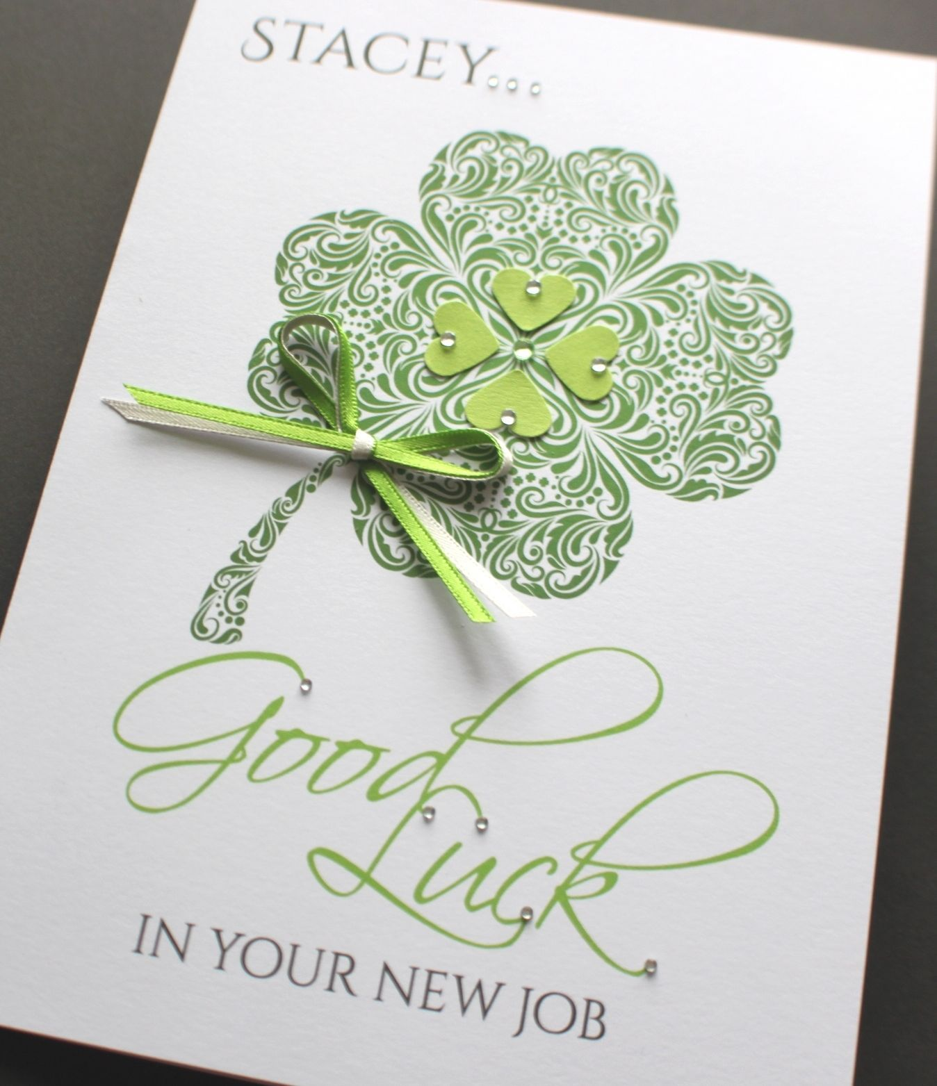 A5 Handmade Personalised Good Luck Clover Card New Job Exam Leaving