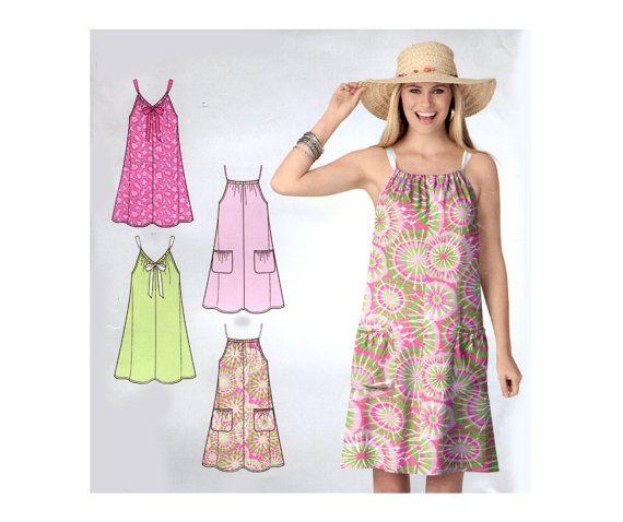 0ad4cb4b08d Easy Summer Dress Pattern Drawstring Neck by PrettyPatternShop. Easy Summer  Dress Pattern Drawstring Neck by PrettyPatternShop Beach Coverup ...