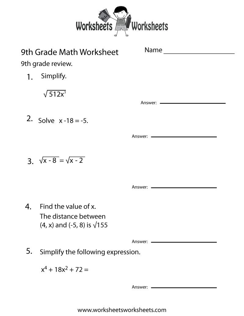 6 Ninth Grade Math Worksheets In 2020 Math Practice Worksheets 9th Grade Math Math Worksheets