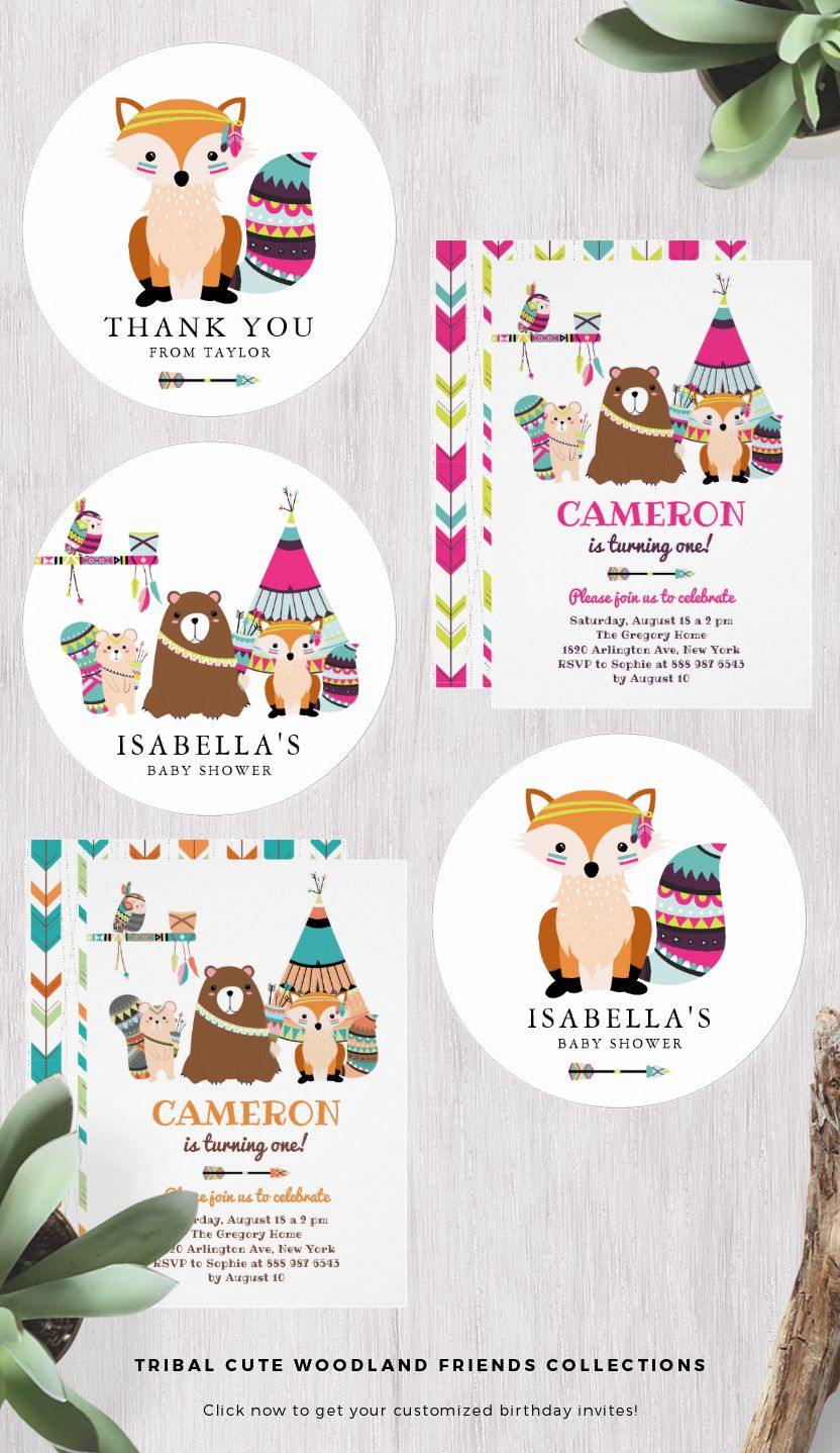 Tribal Cute Woodland Friends Collections Colorful Tribal Woodla
