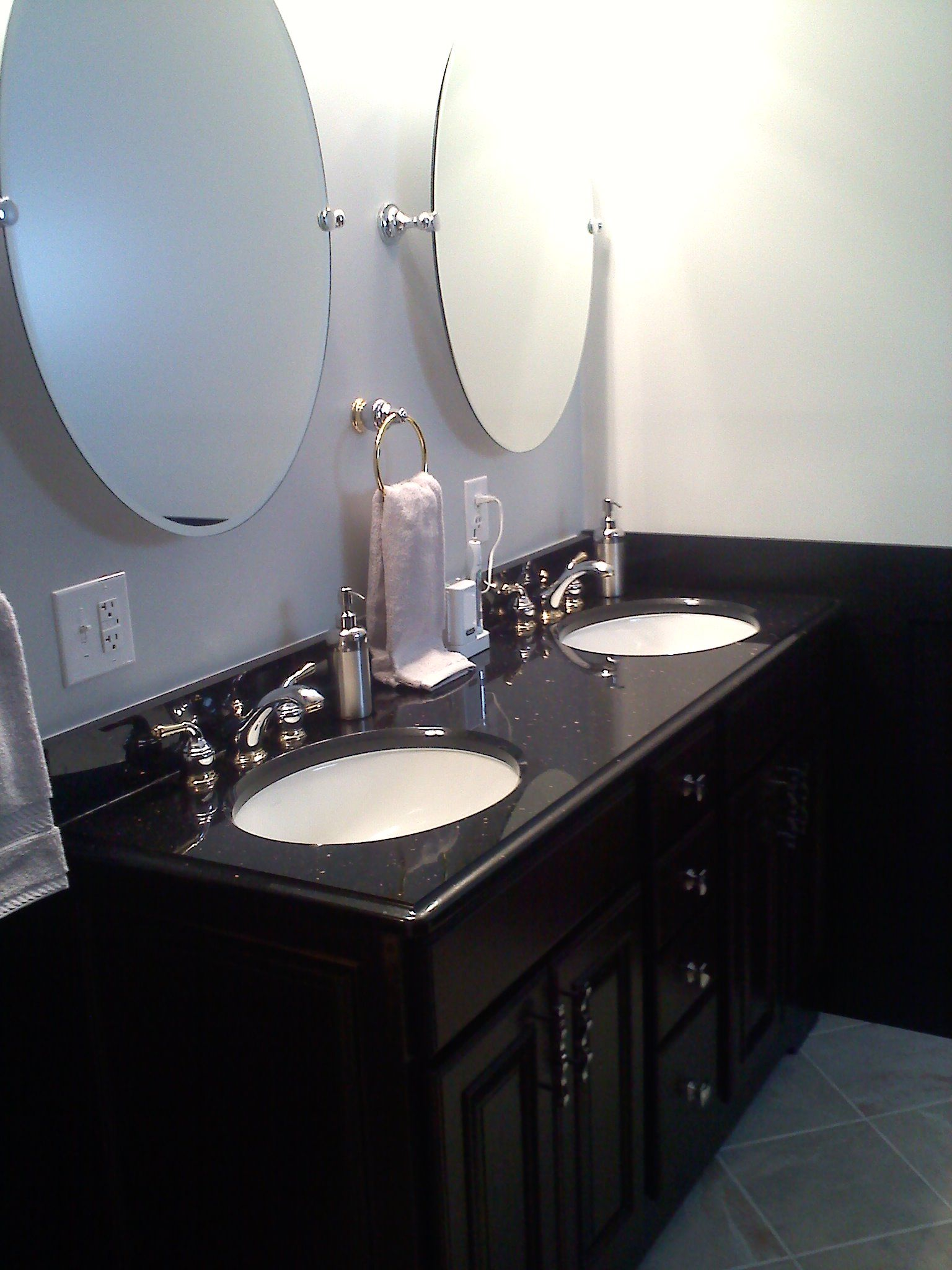 Black Galaxy Granite With Moen Monticello Faucets In Chrome And