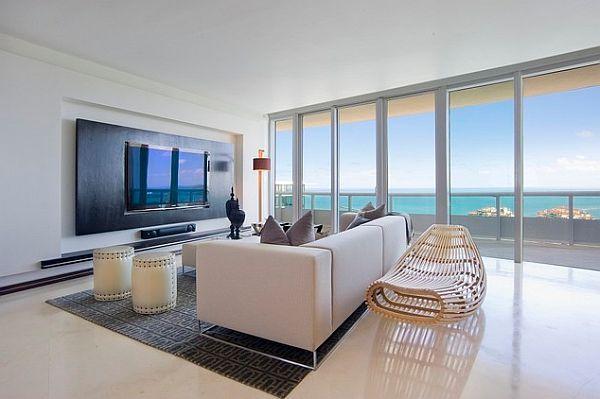 luxus interior mit TV wand schwarz_ David De La Garza wohnzimmer