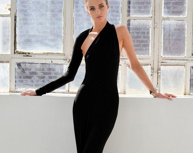 Abendkleid / Schwarzes Kleid / One-Shoulder-Kleid / Einzigartige ...