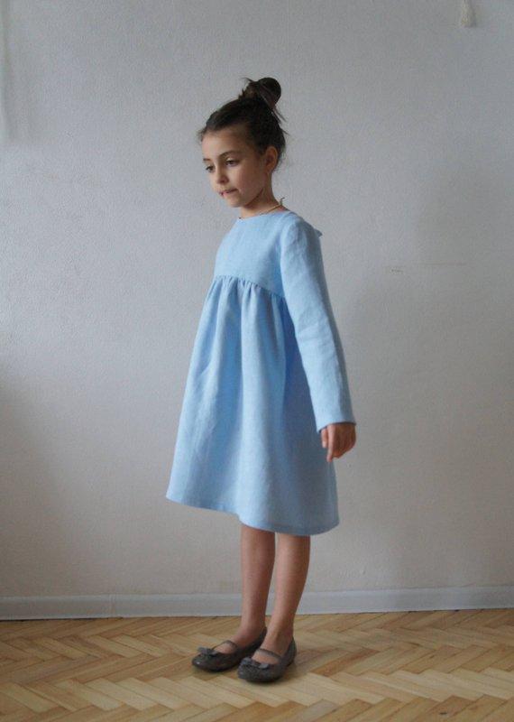 ea06cd644eef Linen dress, Linen girls dress, Linen dress for girls, Vintage girls dress,  Flower linen dress, Flow