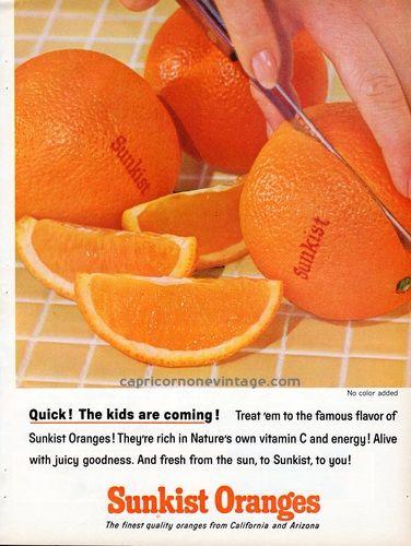 1964 Sunkist Oranges Magazine Ad Mid Century Vintage Advertising Retro Kitchen Decor Kitsch Food 1950s Fruit, $8.00