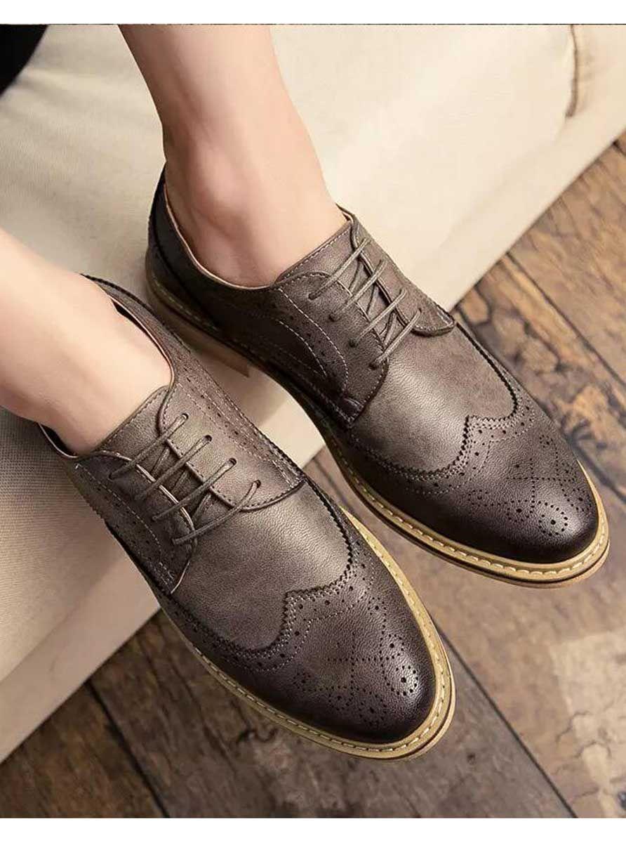 61987ae9260991 Grey retro brogue leather derby dress shoe 1675 in 2019   Men's ...