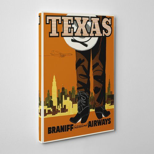 Leinwandbild Travel Texas, Retro-Werbung Big Box Art Größe: 60 cm H x 40 cm B
