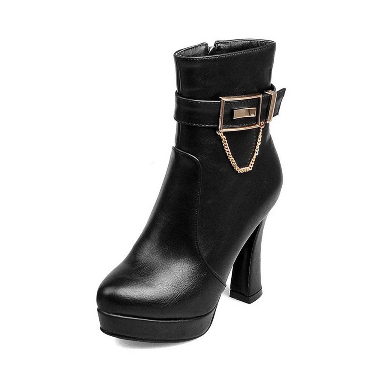 Women's Round Closed Toe Solid Low Top High Heels Boots with Metal