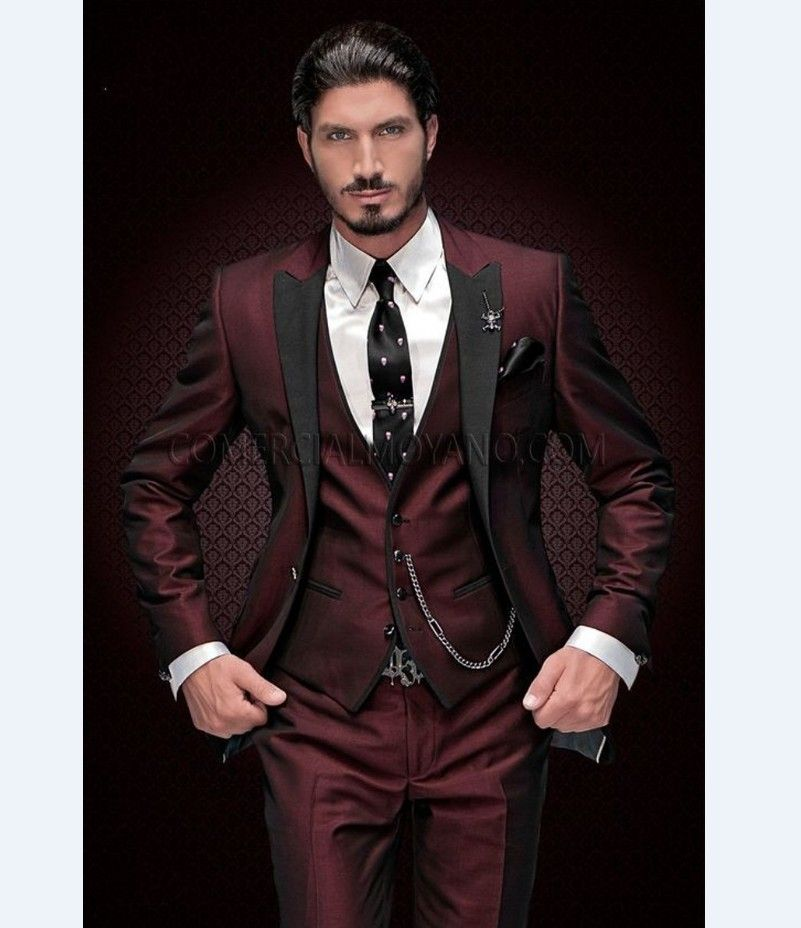 Mens Slim Fit Wine Burgundy Black Suit Tuxedo Satin & Velvet ...