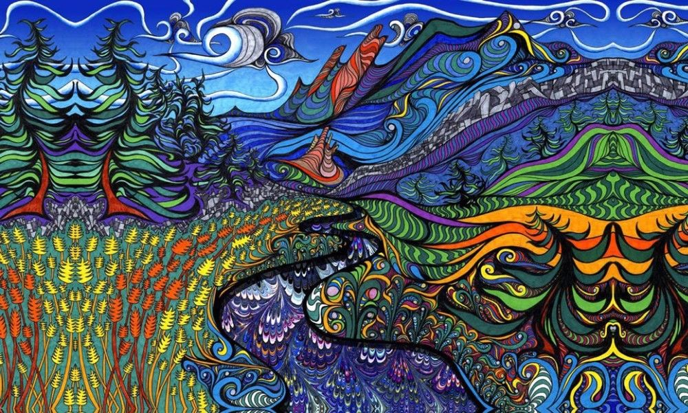 6.63 Psychedelic Trippy Art Nature Mountains 21X13