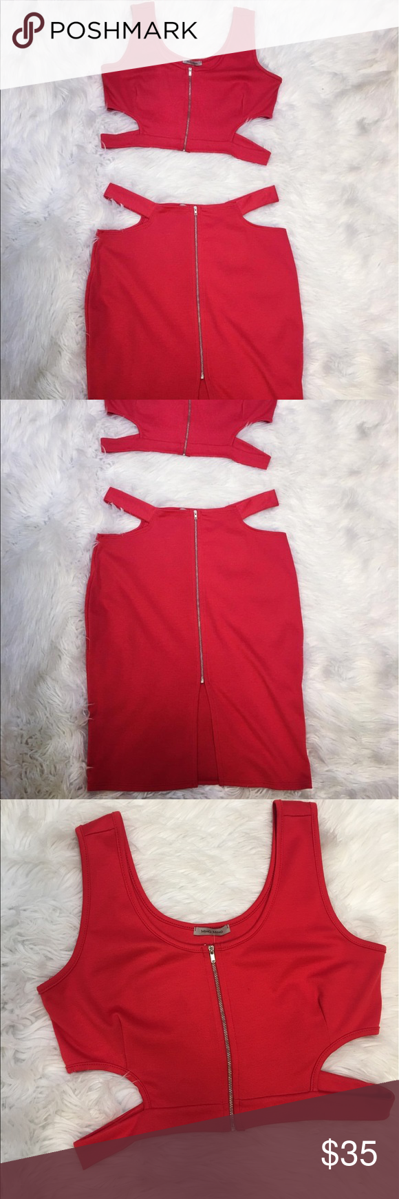 Women's Ming Two Piece Set Women's Red Ming Two Piece Set  (Size 1X)  Brand; Ming Ming Material; 75% Polyester 20% Rayon 5% Spandex  Care; Hand Wash Cold Ming Ming Other