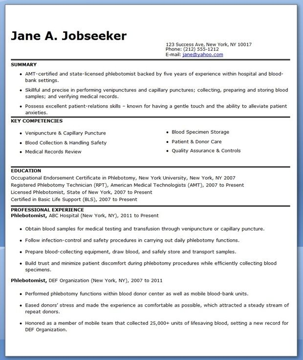 Phlebotomist Resume Sample Free | Creative Resume Design Templates