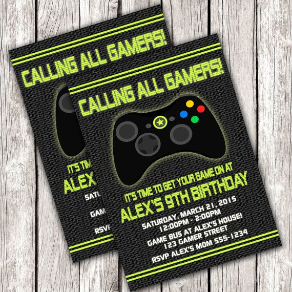 Gamer invitation video game birthday party diy printable game gamer invitation video game birthday party diy printable stopboris Choice Image