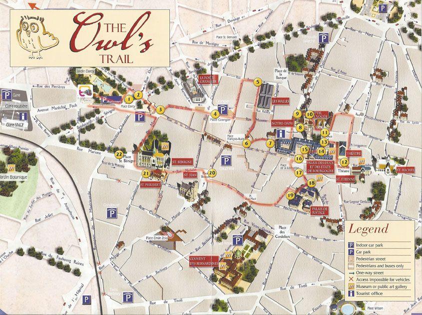 Dijon owl tour map Travel France Lyon Paris Cannes