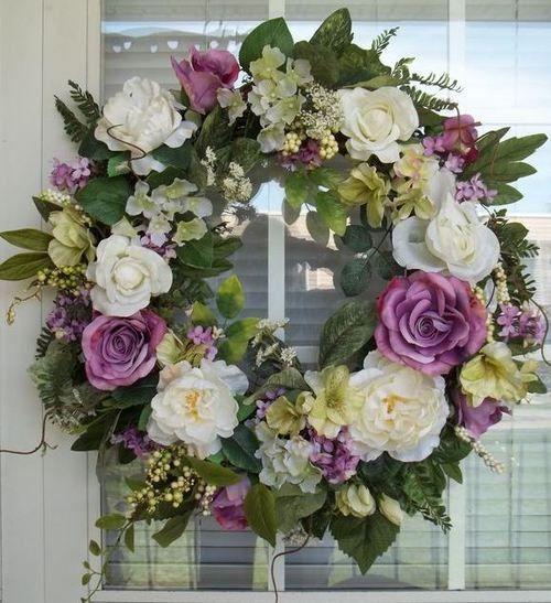 SPRING GARDEN - Vintage Chic Shabby Spring / Summer Wreath Decoration