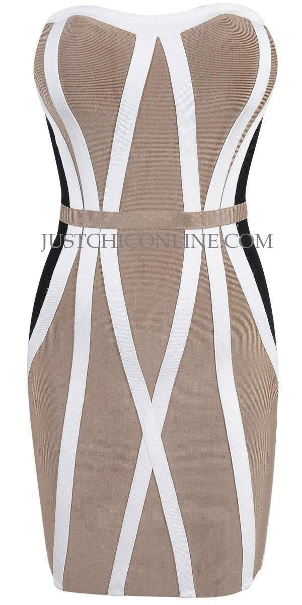 """The """"Honey"""" Tri-Tone Hourglass Affordable Bandage Dress. Made with high quality luxury bandage fabric. $152.00"""