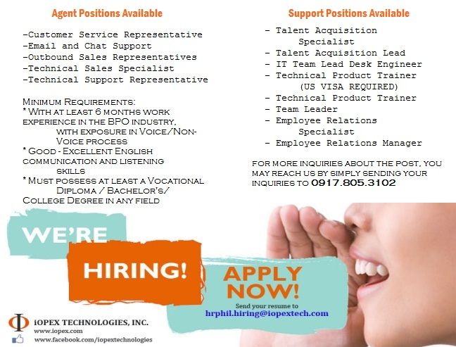 Join us now! iOPEX technologies is currently hiring for the - talent agent resume