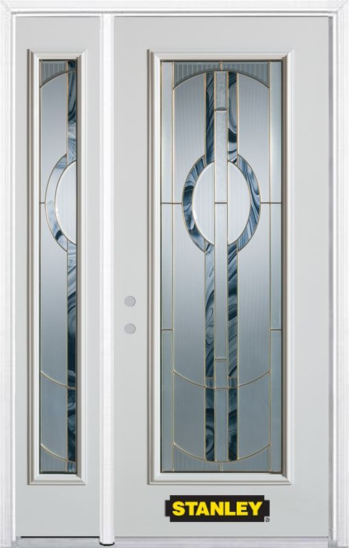 48 25 Inch X 82 375 Inch Stephany Brass Full Lite Prefinished White Right Hand Inswing Steel Prehung Front Door With Sidelite And Brickmould Entry Doors Home Depot Lock Set