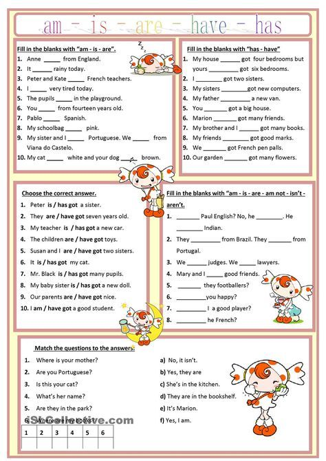 Am, is, are, has, have worksheet - Free ESL printable worksheets ...
