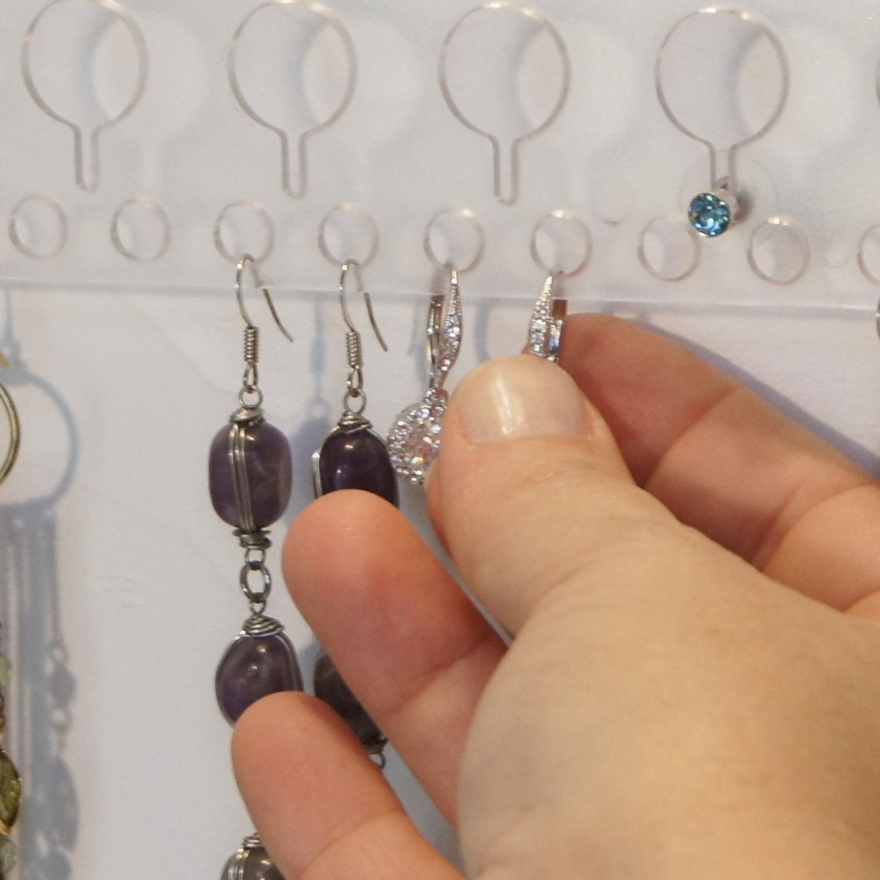 Earring Holder Organizer Wall Mount Closet Jewelry Storage Rack