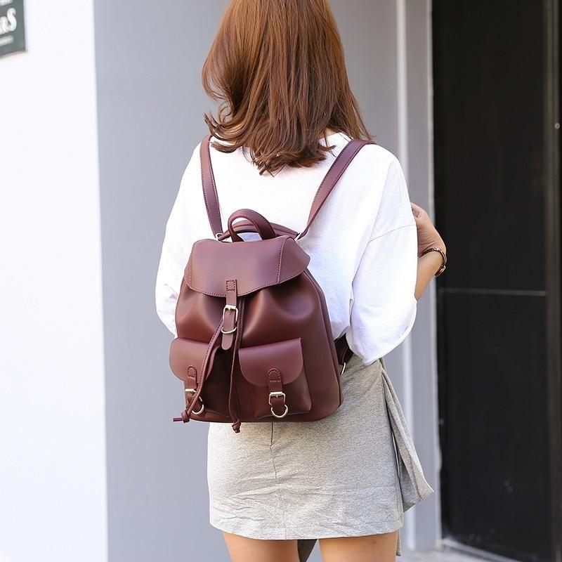 Female Women Drawstring Leather Backpacks Teenage Girls Small School Back Pack