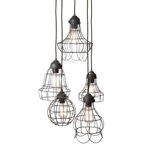 Wire Five-Light Pendant Lamp, For Kitchen Or Dining Room