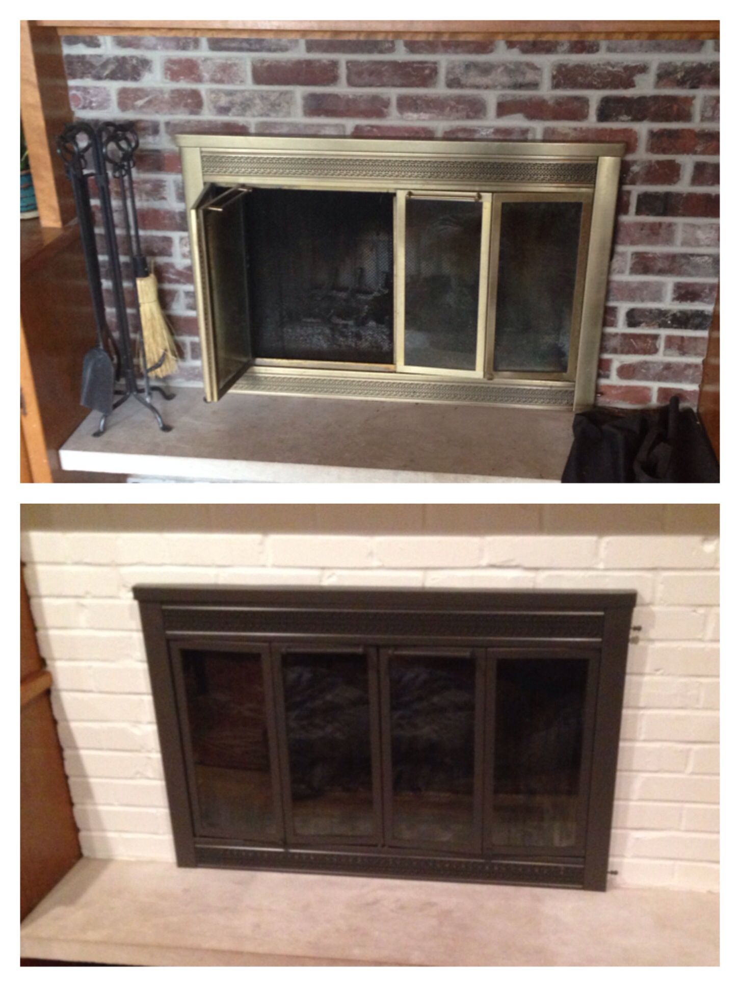 Before After Painting Fireplace Doors And Brick Fireplace