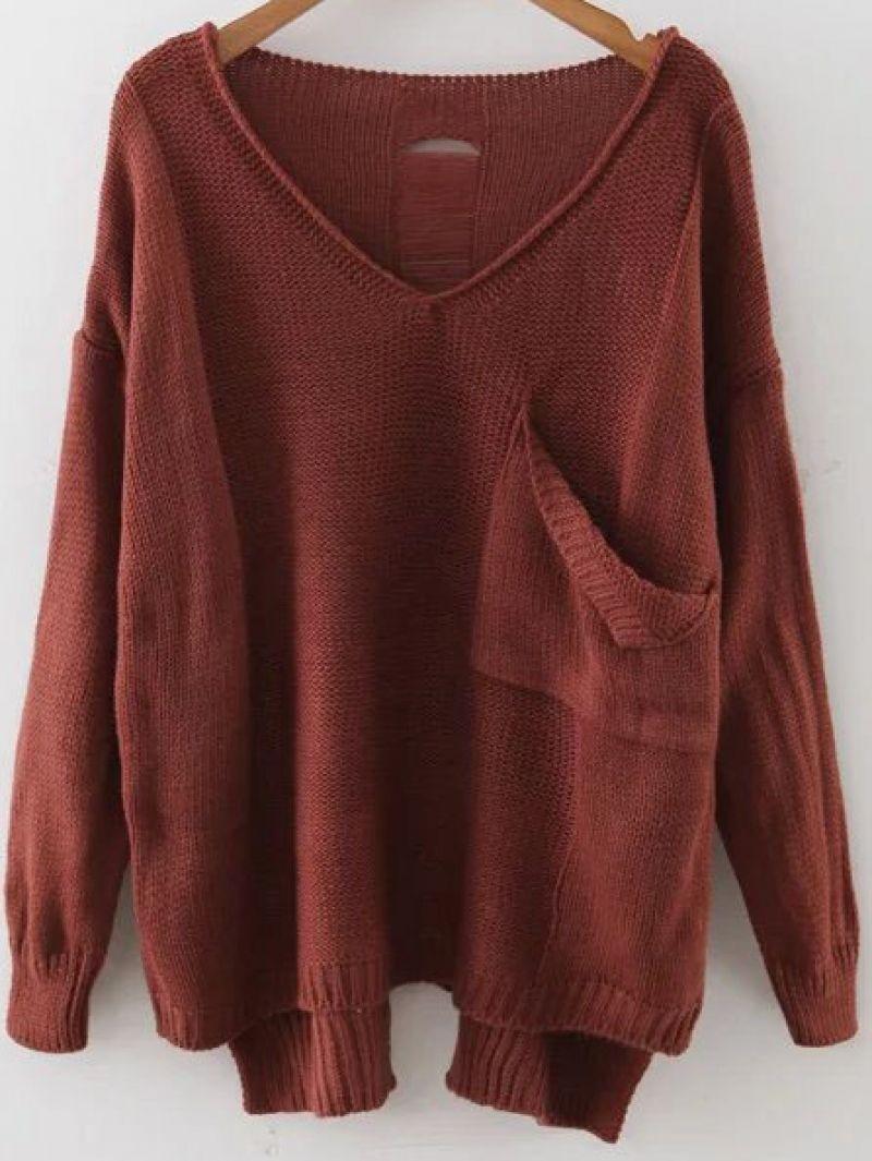Brown V Neck Drop Shoulder Dip Hem Sweater With Pocket | Shoulder ...